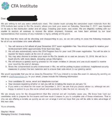 12月CFA考生试卷,cfa成绩作废
